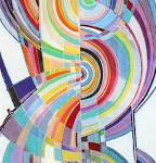 Peinture de DOMINIQUE FIHEY très coloré et en courble