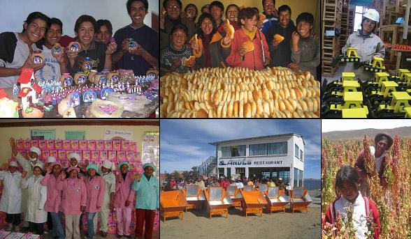 17 entreprises sociales Production de quinoa, maison des menuisières, ateliers de d'artisanat, menuiseries, boulangeries, etc.