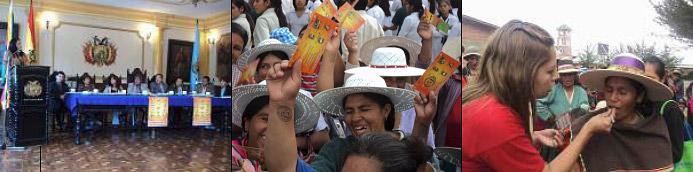 Mercedes Cortez, notre représentante légale, lors de la première conférence de presse sur la campagne contre la violence avec toutes les autorités politiques et juridiques de Cochabamba
